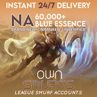 HOT SALE!!! [NA 60K+] League of Legends Unranked Account NA SMURF LoL 60000+ BE