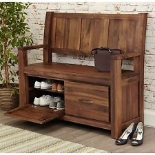 Mayan solid walnut home furniture monks storage shoe bench cabinet