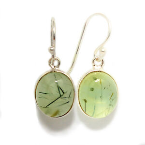 GENUINE NATURAL LARGE PREHNITE HOOK EARRINGS SOLID 925 STERLING SILVER