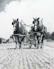 """Hanging On Black and White Horse and Plow Farm Print By Derk Hansen  14.5"""" x 18"""""""