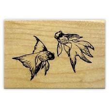 GOLDFISH wood mounted fish rubber stamp, Japanese, Asian #12