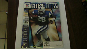 Miami Dolphins Oct 8 1995 VS Colts Game Day Magzine Marshall Faulk on cover