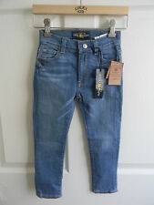 NWT LUCKY BRAND Girl's Denim Blue Jeans Charlie Skinny Pink Embroidered Pants 2T