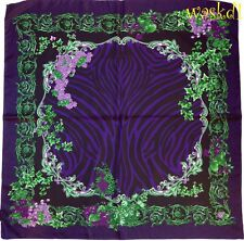 "VERSACE purple & green BAROQUE Border ANIMAL PRINT silk 34"" scarf NEW Authentic"