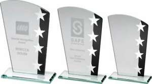 Personalised Black/Silver Glass Award - 3 sizes - engraved f.o.c. text & logos