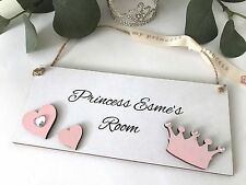 Childrens Princess Room Door Sign/Plaque Personalised Shabby Chic P69