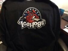 Rockford IceHogs Hockey Adult Logo Black Sweatshirt Size Large EUC