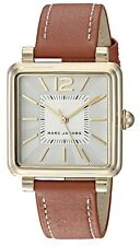 Marc Jacobs Vic Square Silver Dial Gold Tone Brown Leather Women's Watch MJ1573