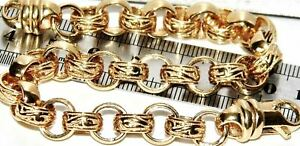 8.75 Inches Men's Belcher Bracelet Solid 9 Ct Yellow Gold on Silver 925