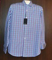Bugatchi Men's White Blue Plaid  Design Cotton Shirt Size US M Classic Fit NEW