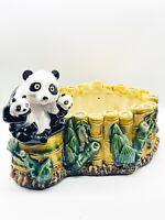 "Vintage Hand Painted Drip Glaze Mother Panda & Cubs Large Planter 13""L 9.5""W 8""H"