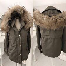 ZARA Winter Parka 2 Coat JACKET Double Layer Faux Fur Trim Size XS 6 8