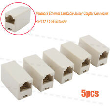 5x Networking Ethernet Lan Cable Joiner Coupler Connector Adaptor RJ45 CAT 5 5E