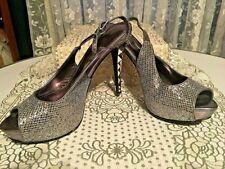 PRETTY Nicole Miller Silver Glitter Platform Stiletto Heel Shoes. Size 9