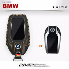 Leather Key fob Holder Case Chain Cover KEY RING FIT For 2018BMW G11 G12 G30 G32