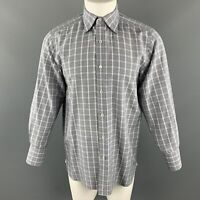 TOM FORD Size M Blue & Grey Plaid Cotton Pointed Collar Long Sleeve Shirt