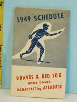 1949 Boston Braves & Boston Red Sox Baseball Home Schedule Atlantic Oil