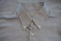 Loro Piana Blue Button Down Collar Texture Woven Pattern Cotton Dress Shirt 17.5