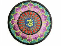 Om Aum Purple Lotus Yoga Hippy Embroidered Iron On Shirt Badge Patch 3""