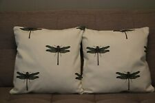 Cushion cover handmade set of 2 17''x17'' linen dragonflies country side pattern