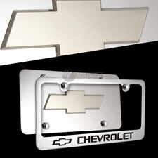 3D Chevrolet Stainless Steel License Plate Frame w/ Caps -2PCS Front & Back SET