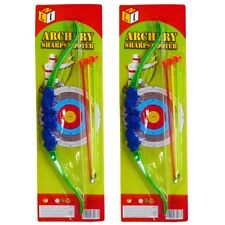 2 x Kids Bow And Arrow Play Set Toy Plastic King Archery Outdoor Garden Fun Game