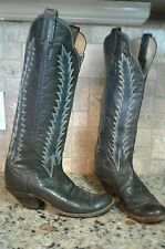 "Vintage 70s Tony Lama 15"" Tall Black Cowboy Boots Buckaroo Black Label Women 6"
