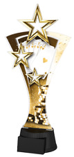 POKER CARD GAME CLASSIC TRIPLE GOLD STAR TROPHY 170mm, FREE ENGRAVING, 3 SIZES