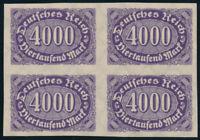 DR 1923, MiNr. 255 U, postfrischer Viererblock, Mi. 600,-
