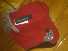 Nwt Girls 2-Pc Set Soft Red Fringed Trapper Hat And Mittens One Size