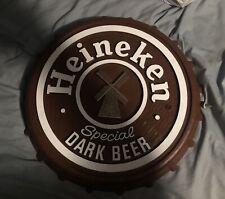"""Heineken Special Dark Beer Bottle Cap 15.5"""" Bar Sign Wall Mount"""