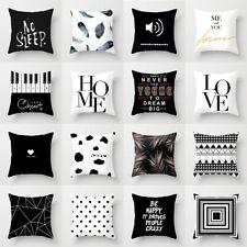 Black & White geométrica Tirar Cubierta De Poliéster Almohada Cojín Cuadrado Decoración de caso