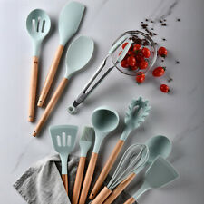 Silicone Cooking Utensils Set Spatula Shovel Wooden Handle Kitchen Cooking Tool