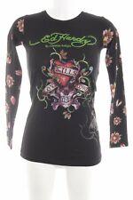 ED HARDY Longsleeve abstraktes Muster Casual-Look Damen Gr. DE 36 schwarz Shirt
