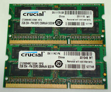 Crucial 2GB Laptop RAM 204-PIN DDR3 - CT25664BC1399A.16FG (Lot of 2) - Tested