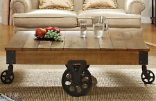NEW FARGO RUSTIC BROWN FINISH PLANK TOP WOOD WROUGHT IRON COFFEE TABLE w/ WHEELS