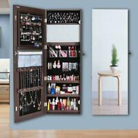 New Large Jewelry Mirror Cabinet Organizer Armoire Wall/Door Mounted Lockable