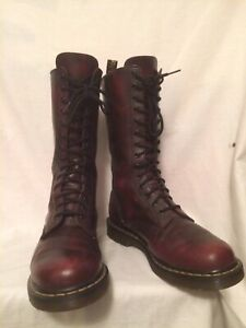 RARE DR MARTENS VONDA RED FLORAL 1914 LEATHER ZIP LACE BOOTS EX CON! UK 8 EU 42