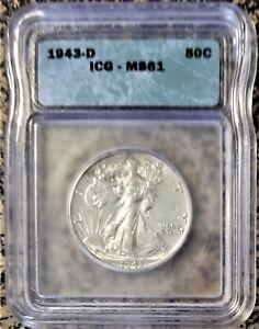 1943 D Walking Liberty Half Dollar - Nice Coin - ICG MS61 - Free Shipping