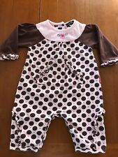 Rabbit Moon Combed Cotton Pink & Brown Polka Dot Longall - 0-3 Months