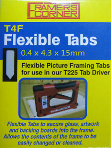 Framers Corner T4F Picture Framing Tabs, Flexible , Pack of 2500, Use With T225