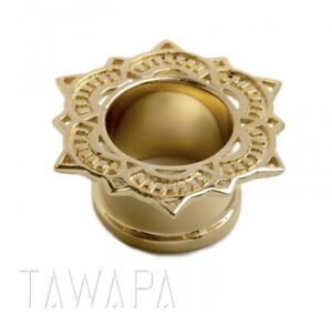"Tawapa 1/2"" 12mm 14k Yellow Gold Plated Lotus Tunnels Gauges Plugs  Eyelets"