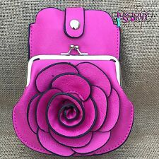 Hot Pink Rose Purse Small bag with Mobile Phone  Holder Long & Short Straps