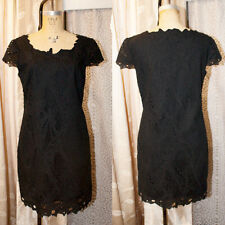 CATHERINE MALANDRINO 8 Black LBD Battenburg Embroidered Shift Dress Cap Sleeve