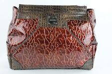 Miche Drew Sz L 11.5 x 15 Burgundy Topstitched Brown Faux Croc Purse Cover /B185