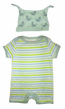 French Connection Baby Boy Romper Playsuit Green Striped Beanie Hat 9-12 Months