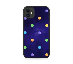 Colourful Space Polka Dot Design Print Silicone Rubber Phone Case Rainbow E764