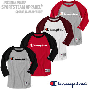 Champion T-Shirt Tee Baseball Raglan Long Sleeve Men's Script Logo