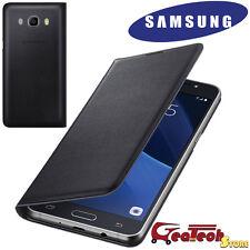 Custodia Flip Wallet Originale Samsung per Galaxy J5 2016 J510 Cover Pelle NERA