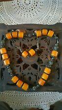 Collana in ambra color cognac completa di orecchini